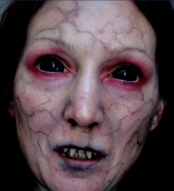 Scary Demonic lady, SFX Demon makeup effect / Pairs great with possessed or black sclera special effects contacts => http://www.pinterest.com/pin/350717889705707881/