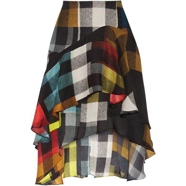 Preen by Thornton Bregazzi Laboni printed silk-jacquard skirt found on Polyvore featuring skirts, multi, multi color skirt, preen skirt, knee length skirts, jacquard skirts and colorful skirts