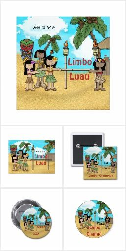 Limbo Luau Birthday Invitations, Stickers, Button Pins by Spice.