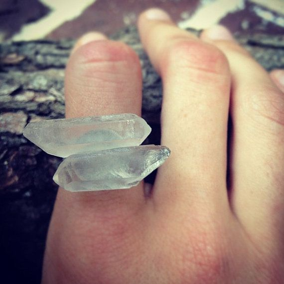 Double Crystal Quartz Ring by GramercyEight on Etsy, $22.00