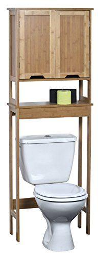 Toilettenschrank - 2 Türen und 1 Ablage- exotischer Stil - aus BAMBUS