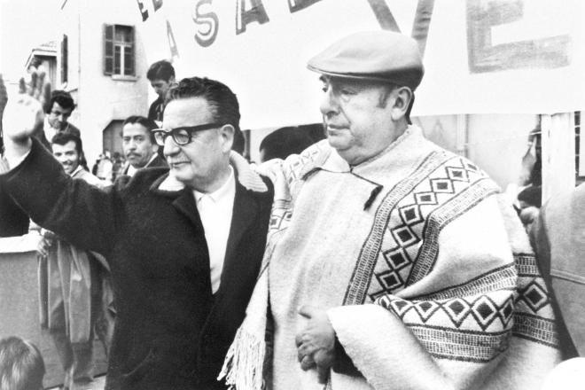Pablo Neruda and future Chilean president Salvador Allende mourn Stalin's death…