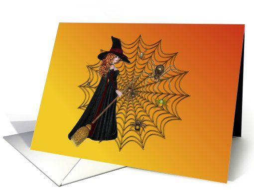 Happy Halloween-Witch-Spiders-Web card