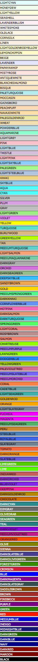 Where Have All the Ordinary Color Names Gone? : Candlepower : Thinkmap Visual Thesaurus