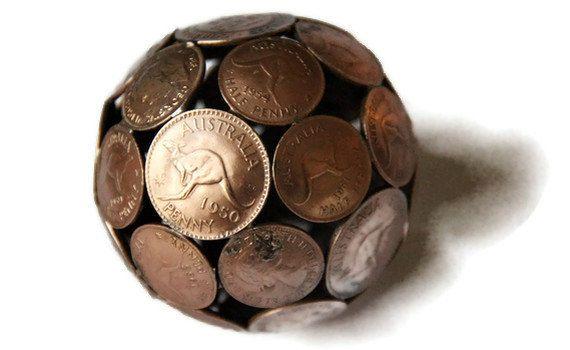 Mini mixed penny ball 1, Penny sphere, Metal sculpture ornament. $55.00, via Etsy.