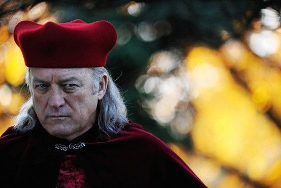 Rodrigo Borgia (Pope Alexander.) Played by the excellent John Doman. It's a bit jarring at first to hear his straight American accent in the middle of so many European ones. But I quickly got use to it once I saw how he sinks his teeth into his performance and totally blows you away.