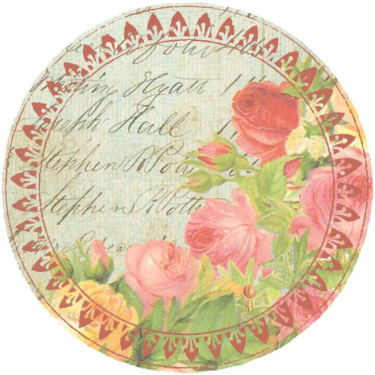 """Roses & Summer Sky ~ 4"""" round graphic"""