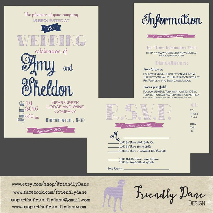 Custom Navy, Lavender, and Violet Typography Wedding Suite by FriendlyDane on Etsy