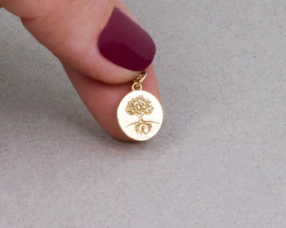 Gold Tree Necklace Tree Of Life Necklace Tiny Coin by Tooliks