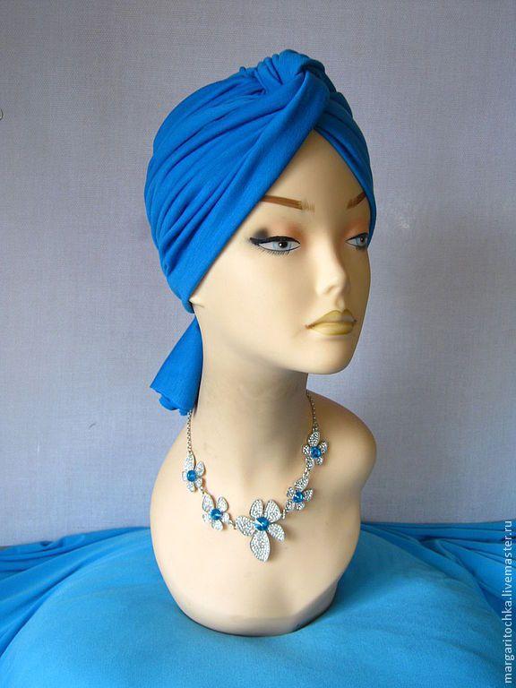 Купить Голубой тюрбан чалма трикотажная - весенний аксессуар, весенняя шапочка, весенняя мода, тюрбан