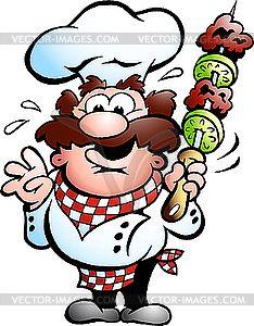 Шеф-повар с шашлыком на шампуре - клипарт Royalty-Free