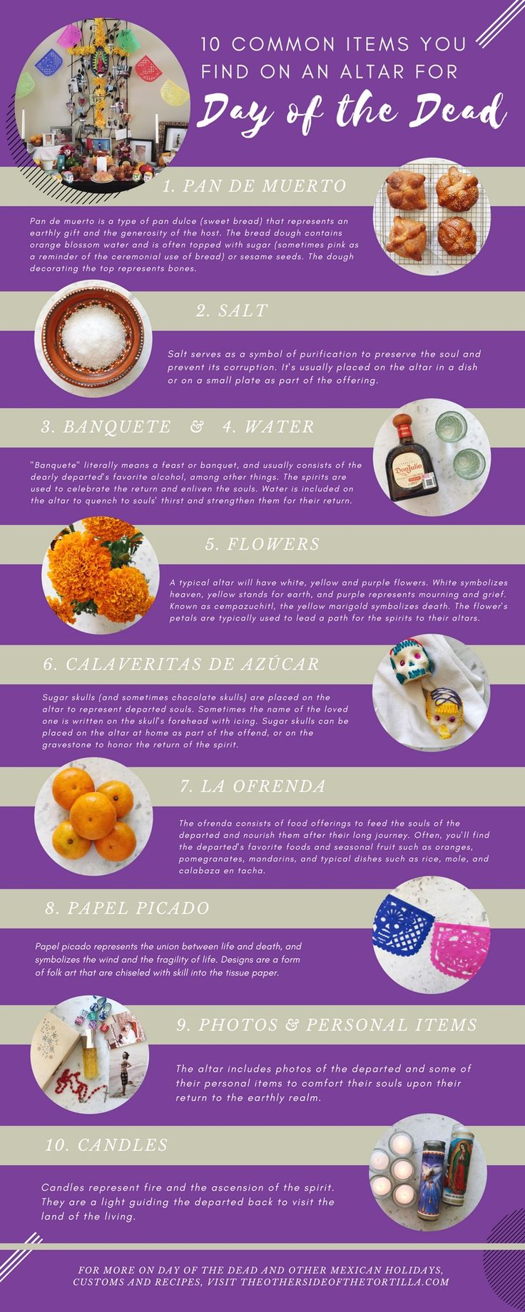 10 common items found on an altar for Day of the Dead and other information on celebrating this sacred Mexican holiday, via theothersideofthetortilla.com