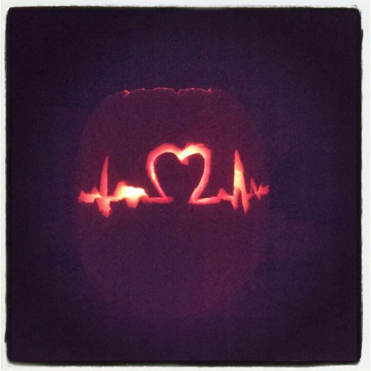 Heartbeat pumpkin. Nurse pumpkin. Pumpkin carving ideas. Made this myself :)