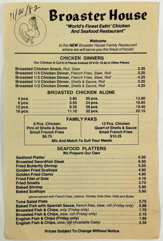 1982 Original Vintage Menu BROASTER HOUSE RESTAURANT