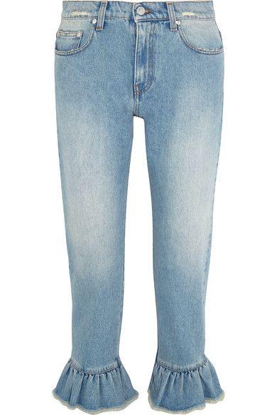MSGM - Distressed Ruffle-trimmed High-rise Straight-leg Jeans - Light denim - IT46