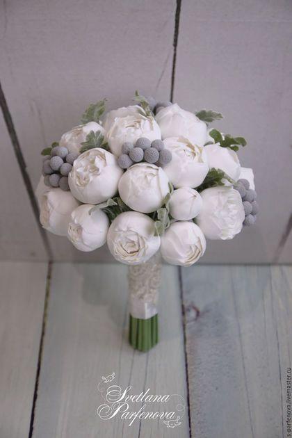 Свадебные цветы ручной работы. Ярмарка Мастеров - ручная работа. Купить Букет Белоснежный пион. Handmade. Белый, серый,…