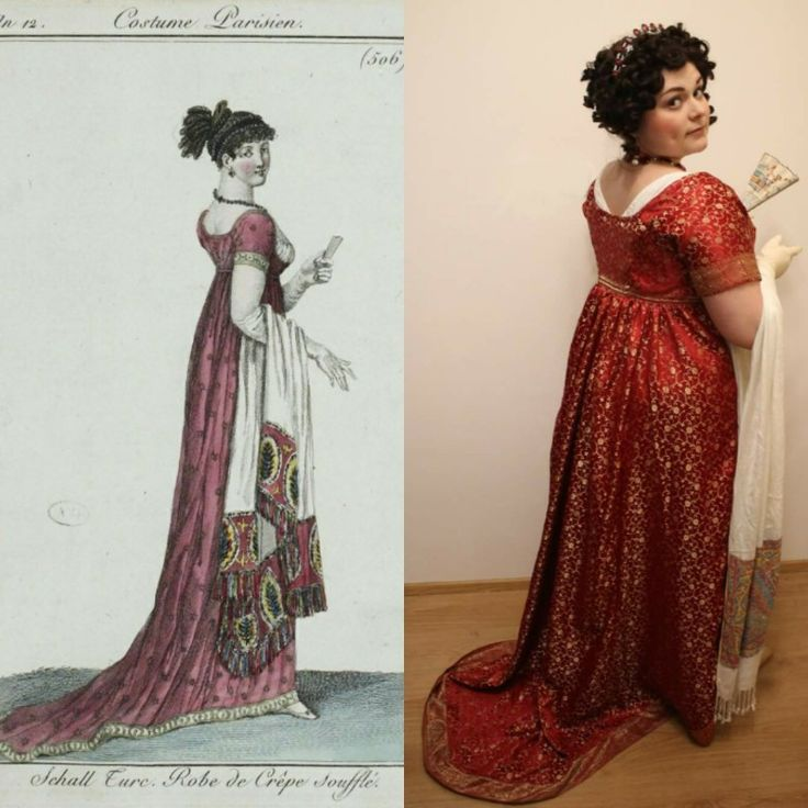 Regency red silk brocade evening dress with train. Made according to the fashion plate.