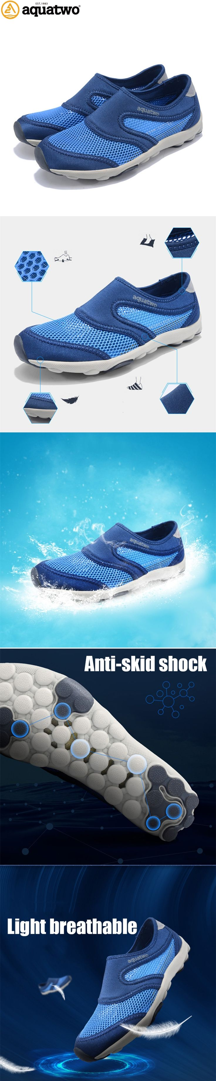 AQUA TWO Men Upstream Shoes Sandal Air Mesh Summer Walking Water Shoes Outdoor Shoes For Beach Wading Shoes HDS-102503