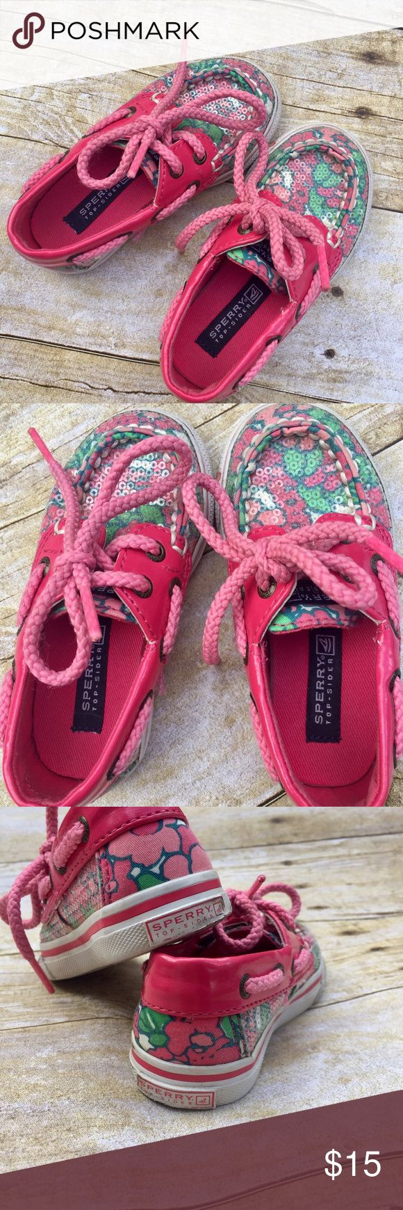 Toddler Girl Sperry Top Siders Adorable toddler Top siders by Sperry. Pink and green flowers with shiny sequins. These shoes were very gently worn. Sperry Top-Sider Shoes