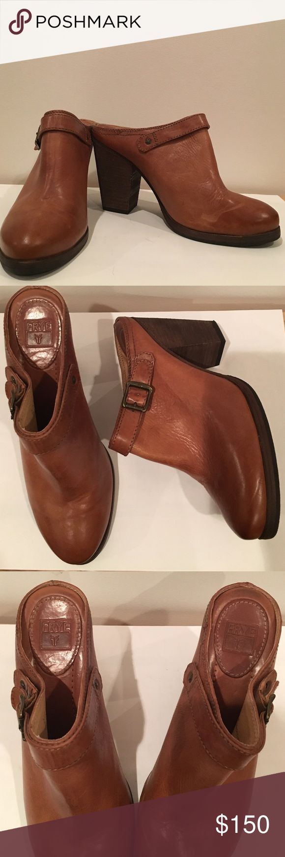 Frye Leather Heeled Mules/Clogs Frye Leather Heeled Mules: NEVER WORN!       These mules/clogs have a distressed leather and and rubber sole with brass hardware Frye Shoes Mules & Clogs