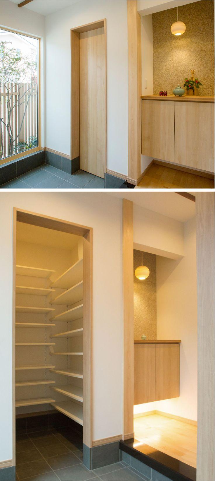 ピクチャーウインドウの大窓から光が降り注ぐ玄関ホール。引戸の奥は大容量のシューズインクローゼット。|デザイン|ナチュラル|収納|