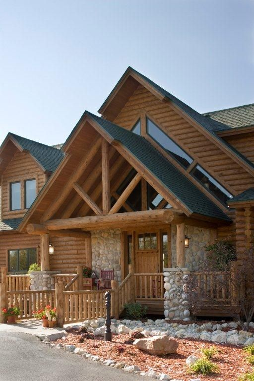 Beautiful Entrance Way To This Log Home And The Porch