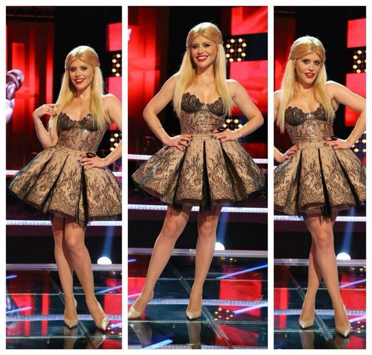 Loredana wearing Cristina Savulescu at The Voice Romania