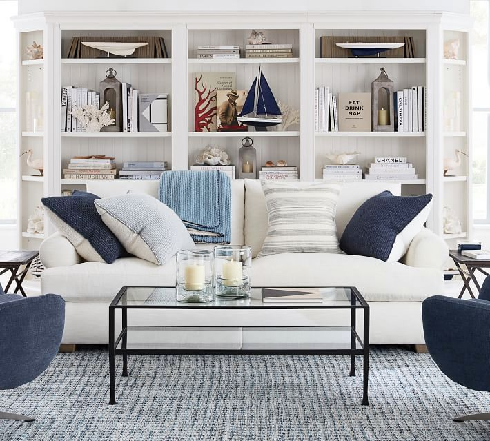 Coastal Nautical Living Room Design Decor Ideas From Pottery Barn Upholstered Sofa Nautical Living Room Upholstered Seating