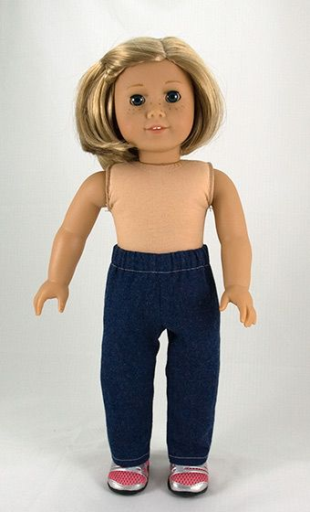 American Girl. Free doll pants pattern. Alter a little and you could make flared jeans also! :) Most patterns on this site are to purchase.