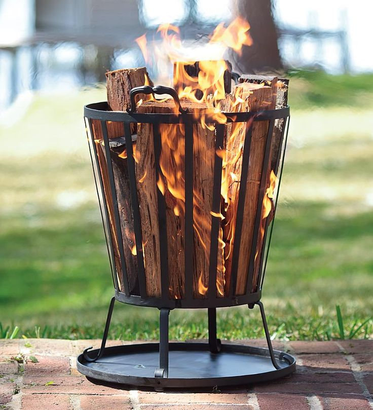 Compact Iron Basket-Style Fire Pit - just the right size for a small yard.