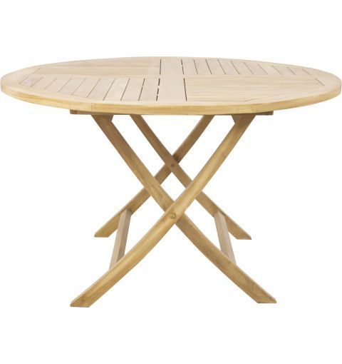 Zigzag 100cm Round Folding Teak Table, Raw Schots $359 (note low stock)