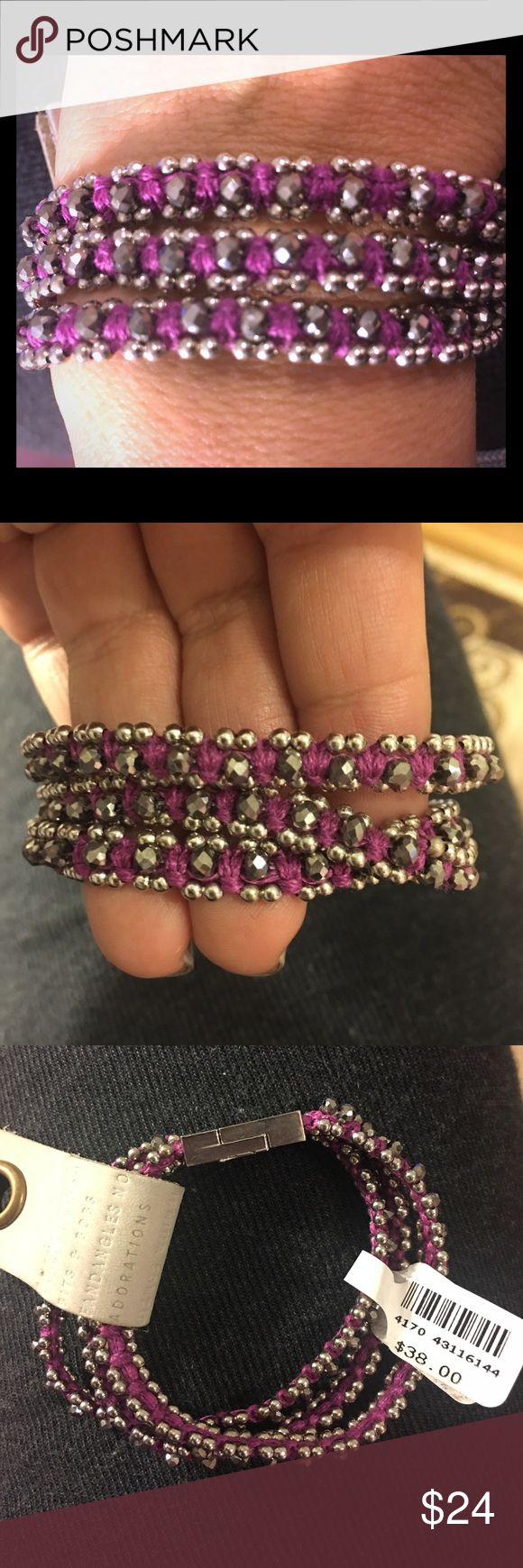 ANTHROPOLOGIE BEADED WRAP BRACELET MAGNETIC CLASP  7.5 INCHES LONG  SILVER AND GRAY BEADS MIXED WITH HOT PINK/PURPLE ACCENTS/THREADING . Anthropologie Jewelry Bracelets