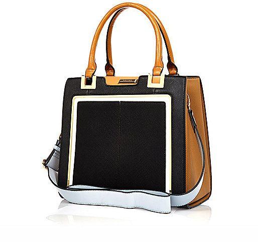 River Island Black Contrast Handle Structured Tote Handbag. Buy for $80 at River Island.