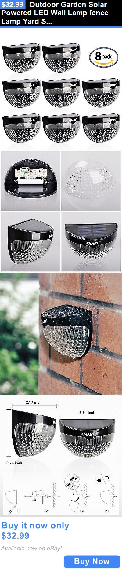 farm and garden: Outdoor Garden Solar Powered Led Wall Lamp Fence Lamp Yard Solar Light --8 Pack BUY IT NOW ONLY: $32.99