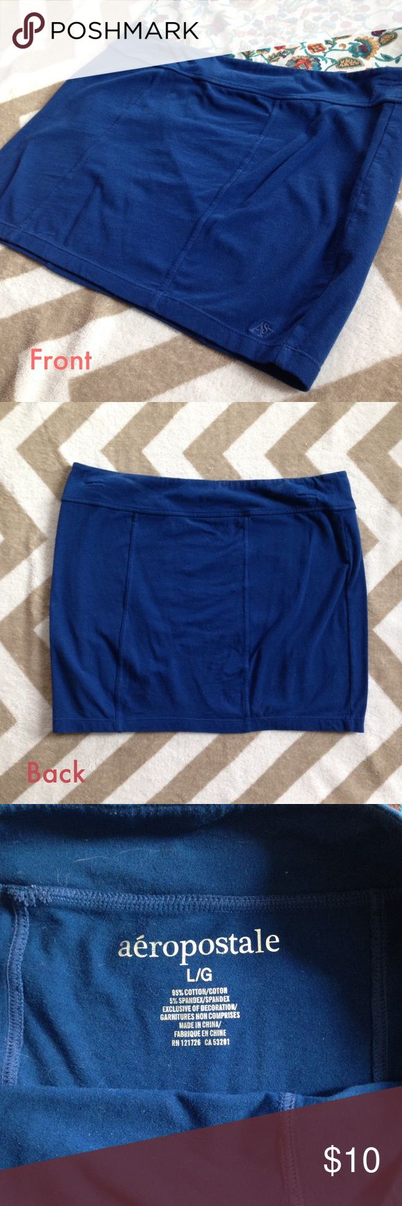 "Blue Bodycon Stretch Miniskirt Super stretchy, tight bodycon mini skirt from Aero! 95% cotton, 5% spandex. Seam detailing. 32"" waist band, 14"" length, 36"" hips. Worn only a few times! Aeropostale Skirts Mini"