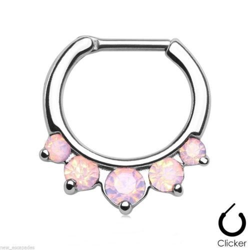 "Septum Nose Clicker w/5 Opalite Pink Pronged Gems 16 Gauge 5/16"" Steel Body Jewe"
