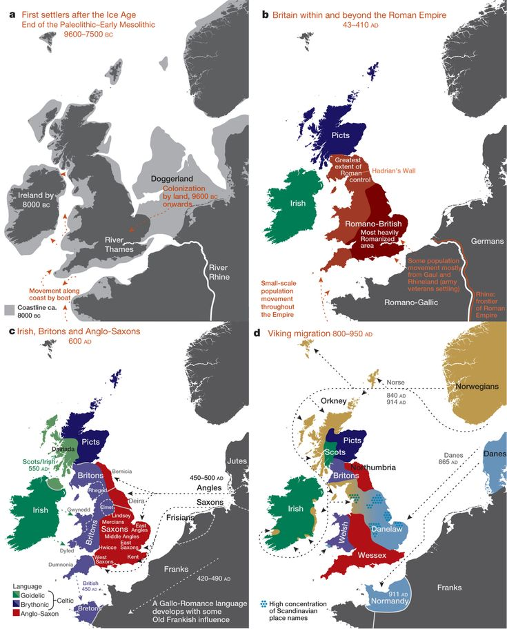 Major events in the peopling of the British Isles. a, The routes taken by the first settlers after the last ice age. b, Britain during the period of Roman rule. c, The regions of ancient British, Irish and Saxon control. d, The migrations of Norse and Danish Vikings. The main regions of Norse Viking (light brown) and Danish Viking (light blue) settlement are shown.