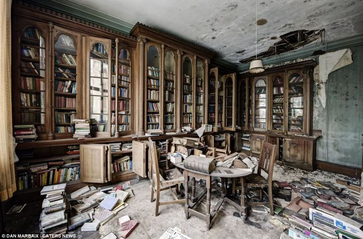 Left in a hurry? Hundreds of books have been left on the shelves and the floor in this but abandoned UK manor house