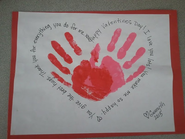 Valentine 39 s day kids handprint craft i like the pink for Valentines day art and crafts for preschoolers