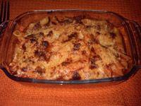 Macarrones al horno gratinados con queso