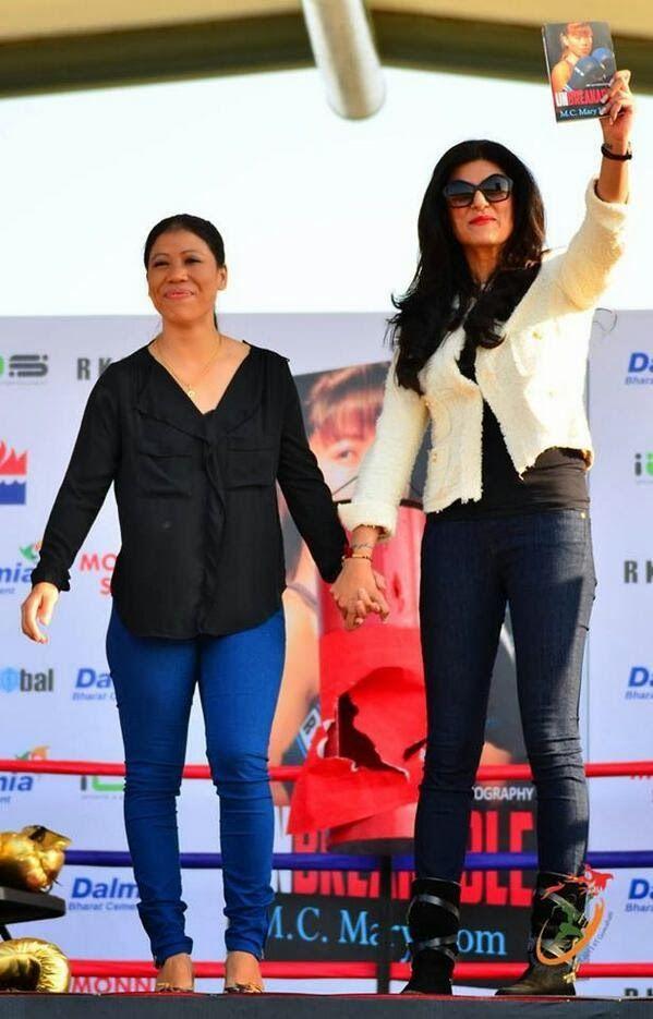 Sushmita Sen launches Mary Kom's autobiography 'Unbreakable'