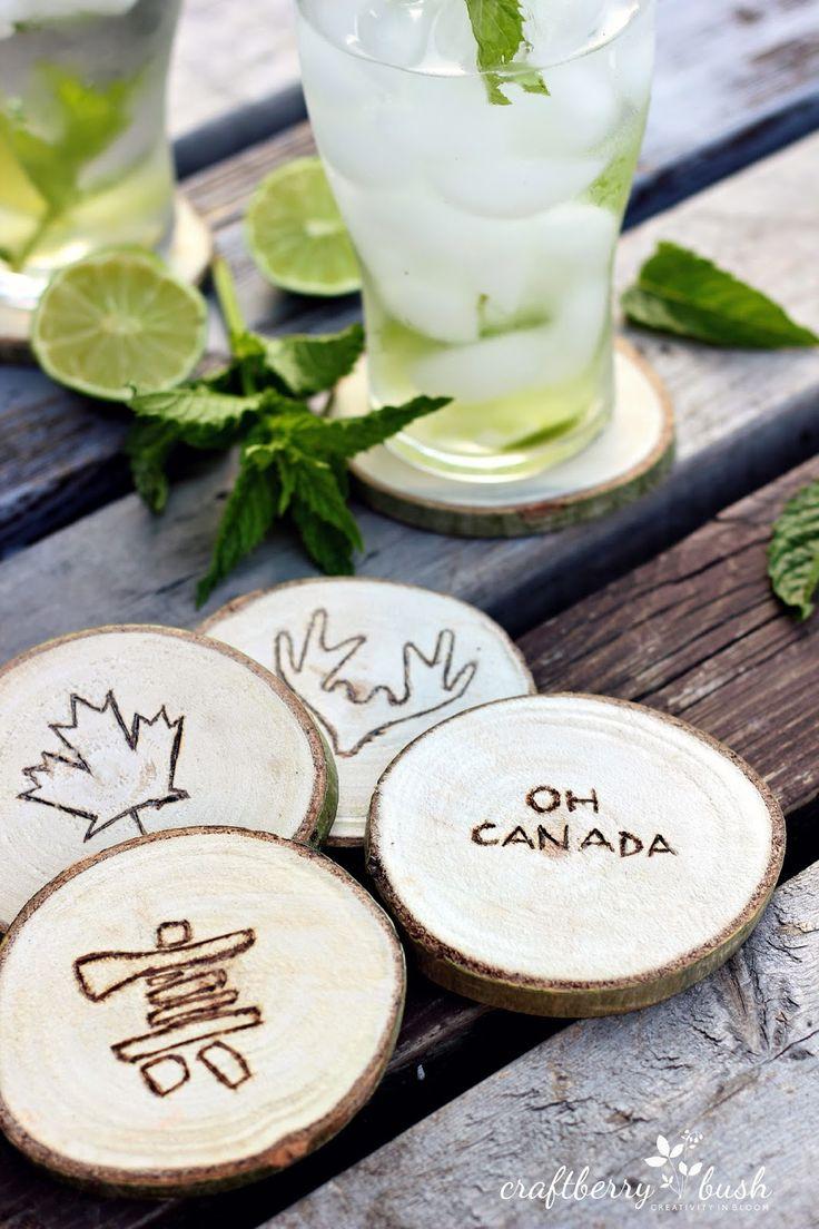 Wood Slice Canadiana Coasters via @craftberrybush