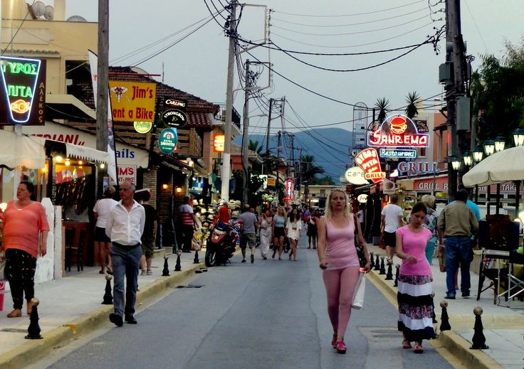 Main street of Sidari town in the northern part of Corfu.