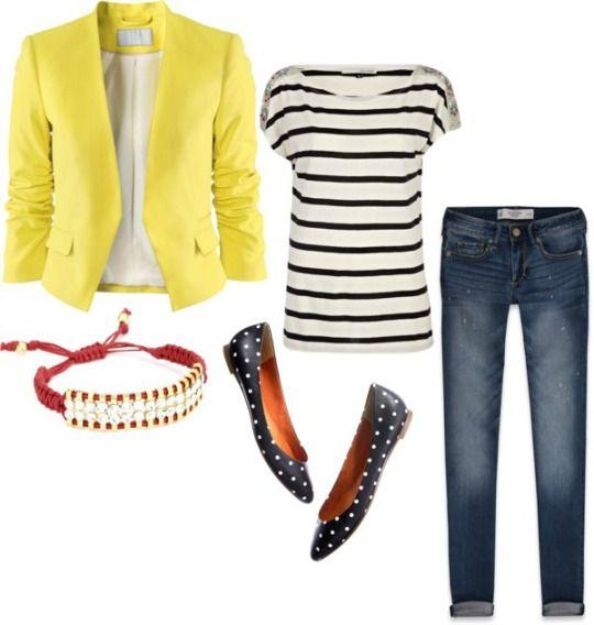 Yellow over black/white stripes