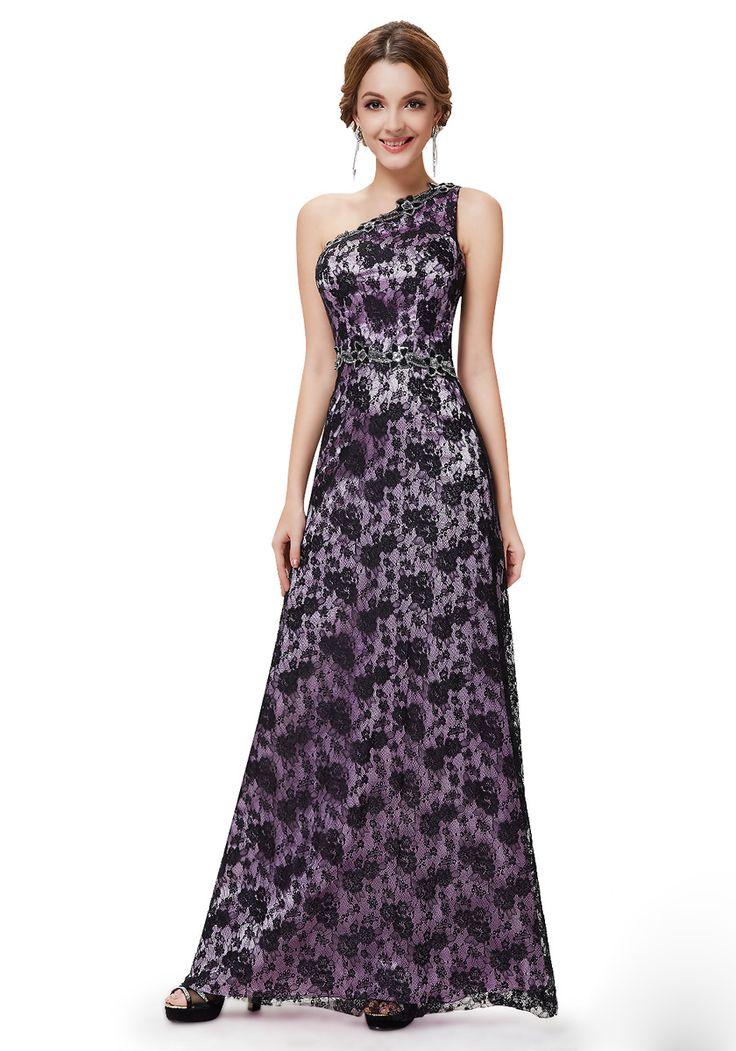 One Shoulder Floor Length Ruffles Sleeveless A-Line Party Dress