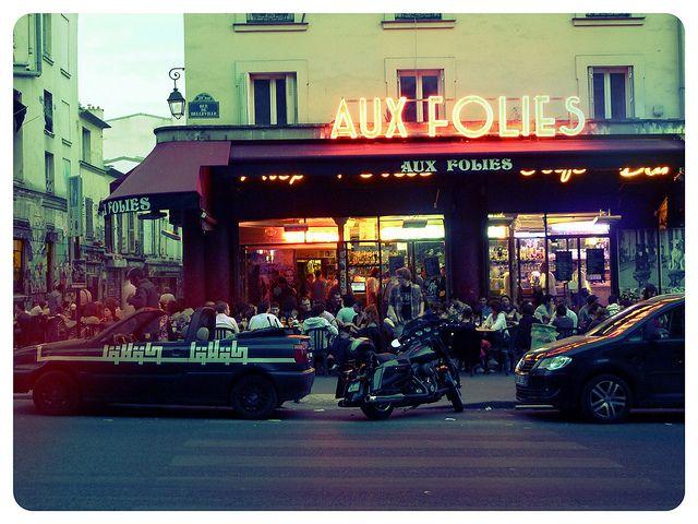 Aux Folies, a fpopular pavement cafe in Belleville, Paris