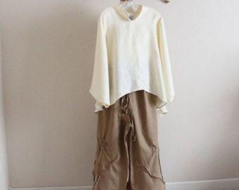 linnen outfit blouse met broek handgemaakte petite te plus grootte meten door annyschoo