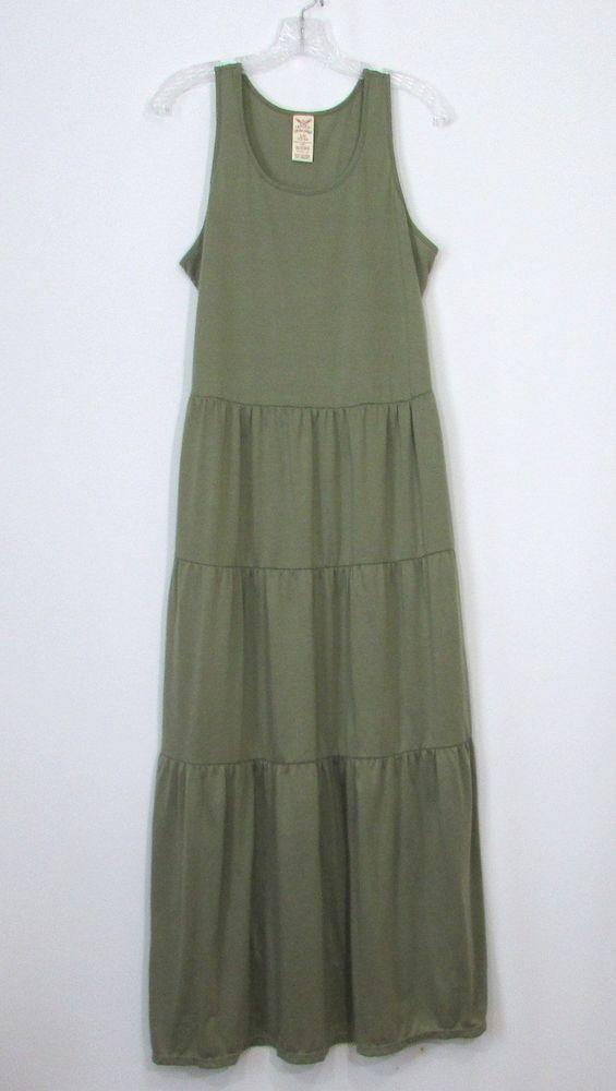 Womens Faded Glory Olive Green Sleeveless Tiered Knit Maxi Dress Size Large 12 1 Fadedglory Maxidress Anyoccasion