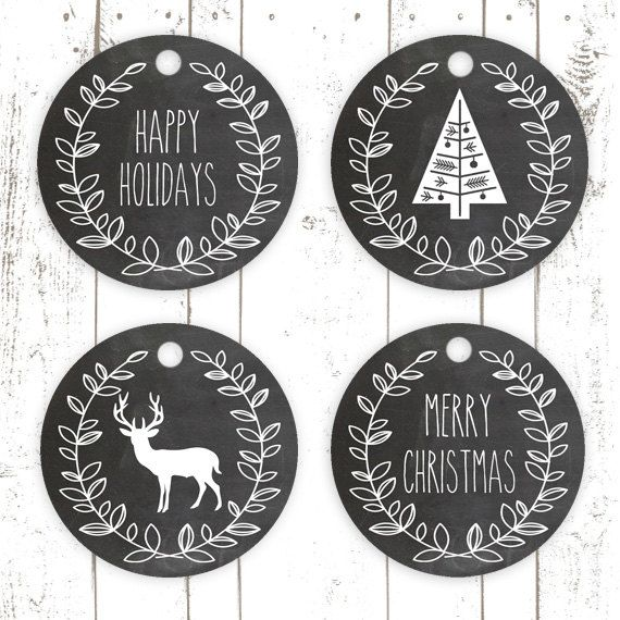 Christmas Gift Tags, Printable Christmas Cupcake Toppers, Chalkboard Gift Tags…