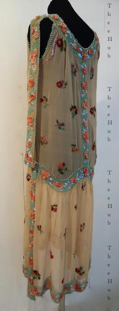 1920s beaded evening dress. Back